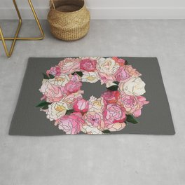 Peony Wreath Painting (dab grey)Feng Shui Rug