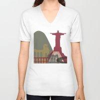 rio de janeiro V-neck T-shirts featuring Rio de Janeiro skyline poster by Paulrommer