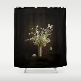Still life with wildflowers and butterflies Shower Curtain