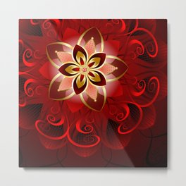 Abstract red flower Metal Print