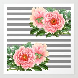 Pink Peonies Grey Stripes Chic Art Print