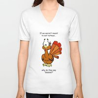 turkey V-neck T-shirts featuring Turkey by Vanessa K. Compton