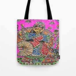 Madhubani - Pink Durga Tote Bag