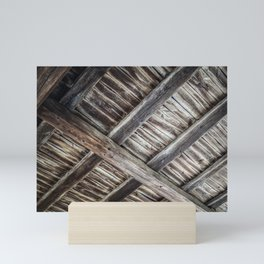 Old wooden barn ceiling Mini Art Print