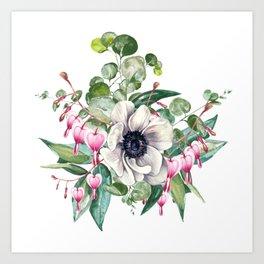 Gentille watercolor handpainted clipart, floral, flower, design, stylish, wedding, invitation Art Print