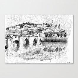 Terrasson village - France drawing Canvas Print