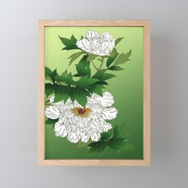 Vintage Japanese Sketch of Large White Peony Framed Mini Art Print