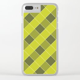 PLAID, OLIVE AND CHARTREUSE Clear iPhone Case