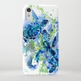 Sea Turtle Turquoise Blue Beach Underwater Scene Green Blue design iPhone Case