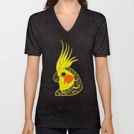 Cockatiel parrot tribal tattoo Unisex V-Neck