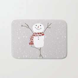 Snowman yoga - the tree Bath Mat