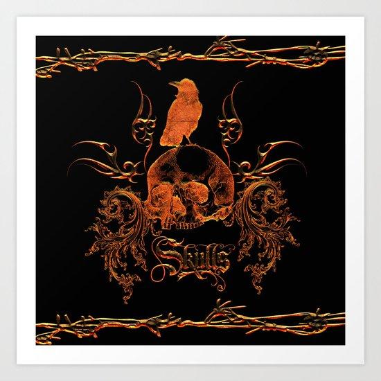 Skull with crow  Art Print