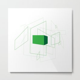 Blueprint #1 (green) Metal Print