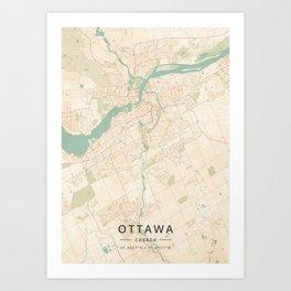 Ottawa, Canada - Vintage Map Art Print