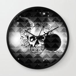bw space skull  Wall Clock