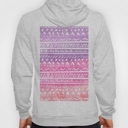 Geometric hand drawn abstract white aztec modern summer pink purple coral ombre watercolor pattern Hoody