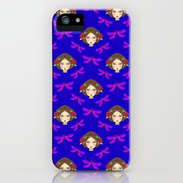 Pretty purple dragonflies, beautiful face of a young girl doll. Gift ideas for dragonfly lovers. iPhone Case