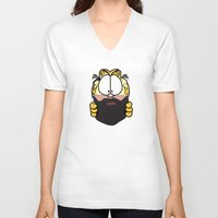 garfield V-neck T-shirts featuring Garfield Cat Beard by Stuff Your Eyes