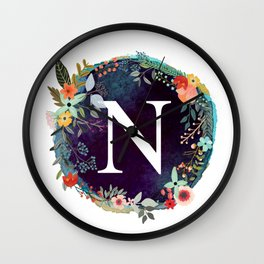Personalized Monogram Initial Letter N Floral Wreath Artwork Wall Clock