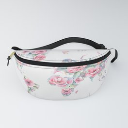 Floral World Map Fanny Pack