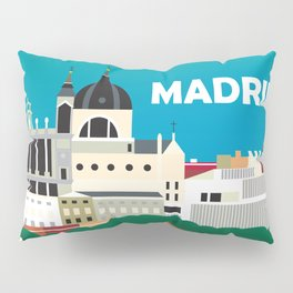 Madrid, Spain - Skyline Illustration by Loose Petals Pillow Sham