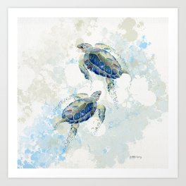 Swimming Together 2 - Sea Turtle  Art Print
