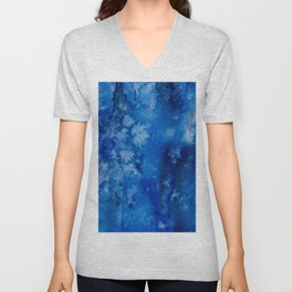 Deepest navy watercolor Unisex V-Neck