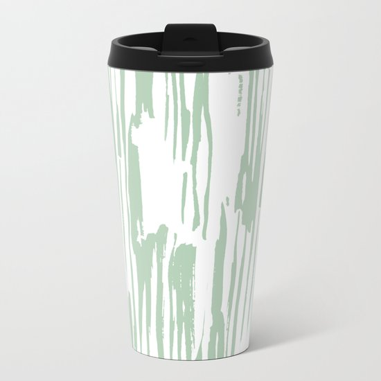 Bamboo Stripe Pastel Cactus Green White Metal Travel Mug