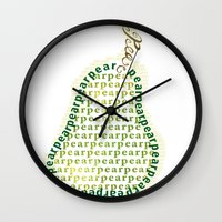 pear Wall Clocks featuring Pear by Lisa Braun