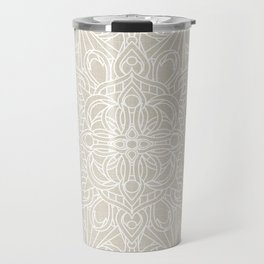 White Lace Mandala on Antique Ivory Linen Background Travel Mug
