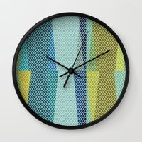 mid century Wall Clocks featuring Mid Century Herringbone 1 by David Andrew Sussman