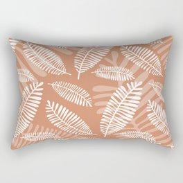 Palm Fronds . Terra Cotta Rectangular Pillow