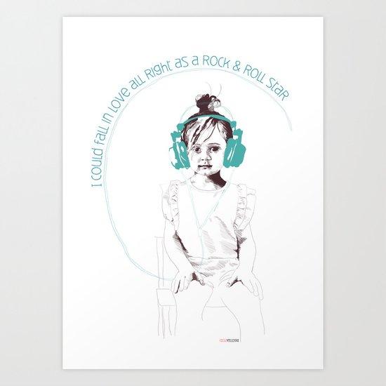 RocknRoll Girl Art Print