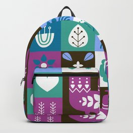 Scandinavian Midcentury Modern Composition With Birds And Flowers Backpack