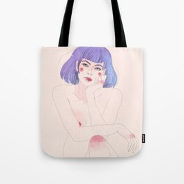 Purple hair girl Tote Bag
