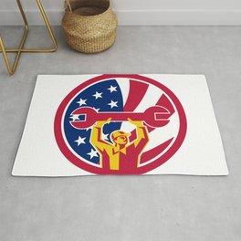 American Mechanic USA Jack Flag Icon Rug
