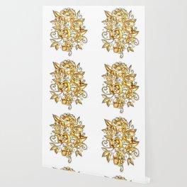 Golden Floral Wallpaper