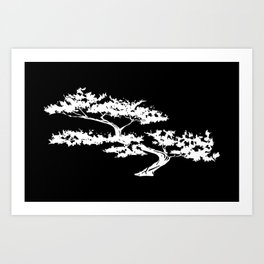 Bonzai Tree Reversed on Black Background Art Print
