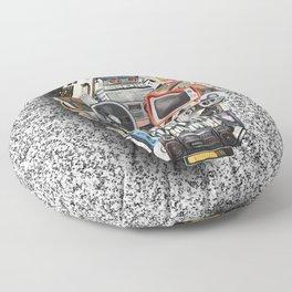 retro tech skull 5 Floor Pillow