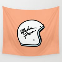 moto Wall Tapestries featuring Make Fun Moto Helmet by Mick Bailey