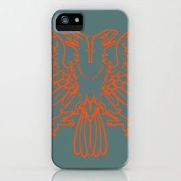 red double-headed eagle on gray background iPhone Case