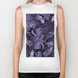 Tropical Jungle Night Leaves Pattern #4 Ultra Violet #tropical #decor #art #society6 Biker Tank