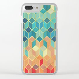 Colorful Squares with Gold - Friendly Colors and Marble Texture Clear iPhone Case