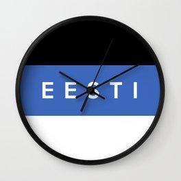 estonia country flag eesti name text Wall Clock