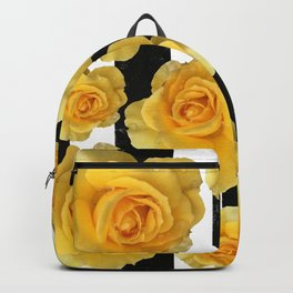 Yellow Roses on Black & White Stripes Backpack