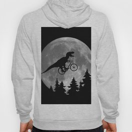 Biker t rex In Sky With Moon 80s Parody Hoody