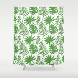 Mid Century Modern Tropical Leaf Pattern Green Gray White Shower Curtain