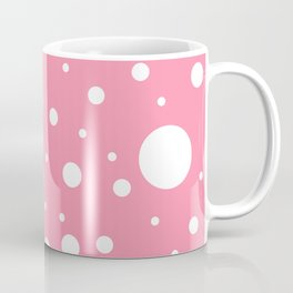 Mixed Polka Dots - White on Flamingo Pink Coffee Mug