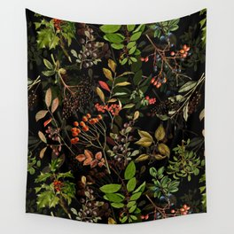 Vintage & Shabby Chic - vintage botanical wildflowers and berries on black Wall Tapestry