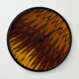 Yellow/Brown Diagonal Pattern Wall Clock